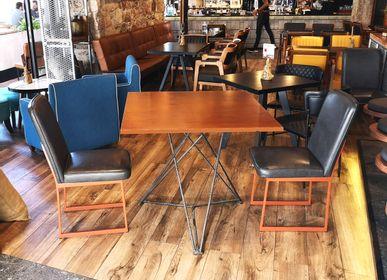 Tables Salle à Manger - Piétement de table avec plateau en contreplaqué (placage Mansonia africain noyer) - LIVING MEDITERANEO