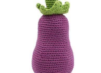 Toys - EGGPLANT - BABY RATTLE 100% ORGANIC COTON - MYUM - THE VEGGY TOYS