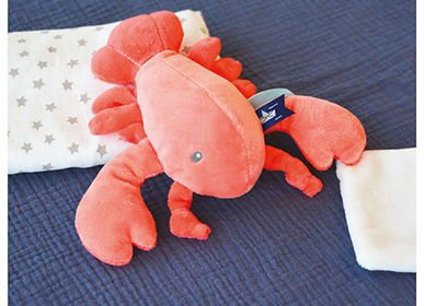 Soft toy - LOBSTER with doudou - coral - DOUDOU ET COMPAGNIE