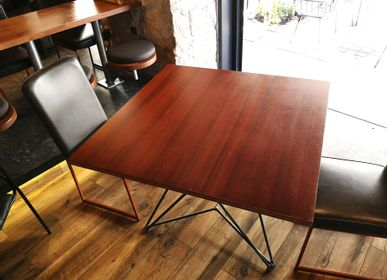 Tables for hotels - Starbase table with plywood top (mahogany veneer) - LIVING MEDITERANEO