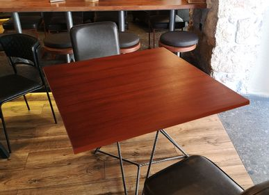 Dining Tables - Table with top (mahogany veneer) and starbase steel leg - LIVING MEDITERANEO