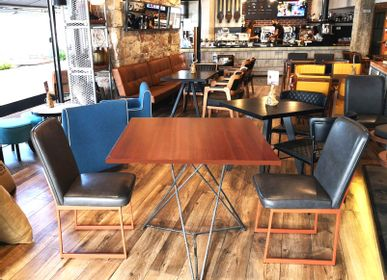 Dining Tables -  Table with top (mahogany veneer) & Steel Starbase - LIVING MEDITERANEO