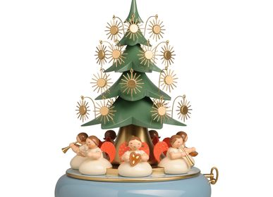 Christmas decoration - Music Box with Angels sitting under the Tree, with 36-tone Musical Movement - WENDT & KUEHN