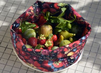 Homewear - Fabric basket printed Red Berries - MARON BOUILLIE