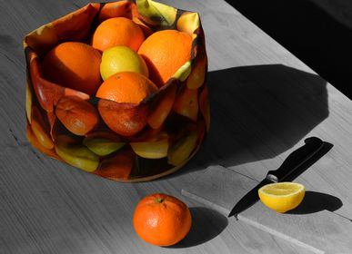 Homewear - Fabric basket printed Citrus - MARON BOUILLIE
