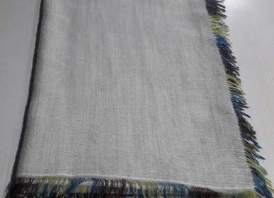 Scarves - grey felted scarf with coloured fringes - PATRIZIA D.