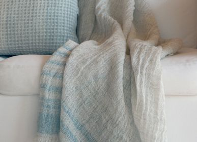 Homewear - Finnish lamb wool blanket with plant dyed stripes, Kajos - BONDEN