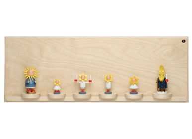 Wall decoration - Display Shelf with Seven Sliding Disks, Small, Natural - WENDT & KUEHN