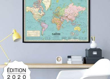 Stationery - Poster Map of the World 2020 style vintage planisphere detailed - PAPPUS ÉDITIONS