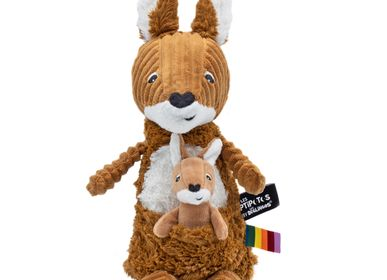 Soft toy - Allezou the Kangaroo & Baby Brown Sugar - LES DEGLINGOS