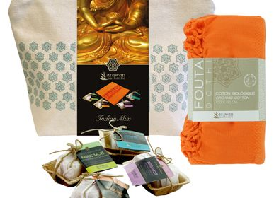 Beauty products - Wellness gift kit, Indian Mix, Ayurvedic soaps and organic cotton hammam towel. - KARAWAN AUTHENTIC
