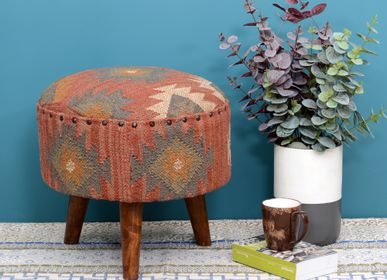 Benches - Jute kilim wooden stool - NATURAL FIBRES