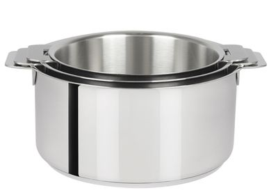 Platter and bowls - Set of 3 stainless steel pots 18-10 16, 18 and 20 cm Mutine Removable - CRISTEL
