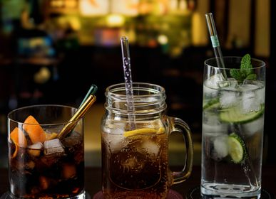 Glass - Barbaydos glass and stainless steel drinking straws - CONTENTO