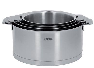Plats et saladiers - Série de 4 casseroles inox 18-10 1416, 18 et 20cm Strate Amovible - CRISTEL