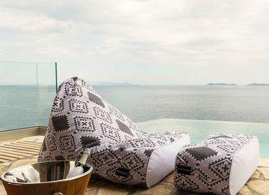 Outdoor fabrics - BEAN BAG SUNSET PRINT STOOL - POUFOMANIA