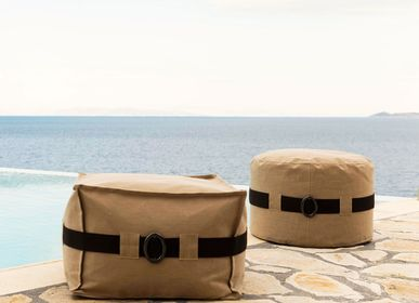 Outdoor fabrics - BEAN BAG LA PLAYA ROUND STOOL - POUFOMANIA