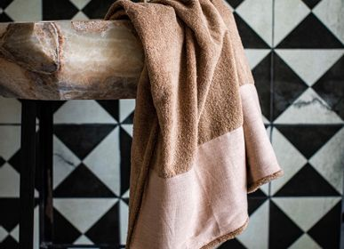 Bath towels - BATH LINEN IN PURE COTTON TERRY WITH PURE LINEN BORDER BAUHAUS - BORGO DELLE TOVAGLIE