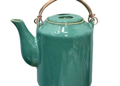 Ceramic - Teal feather & Matte Celadon Teapots - ZAOZAM
