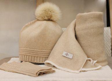 Hats - Organic cashmere accessories hat, shawl & gloves, Mongolia  - AZZA DESIGN STUDIO ORGANIC CASHMERE MONGOLIE