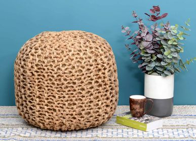 Ottomans - jute knitted pouf - NATURAL FIBRES