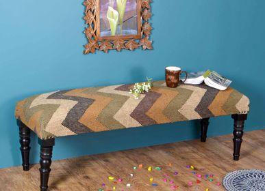 Benches - Jute kilim boho wooden bench - NATURAL FIBRES