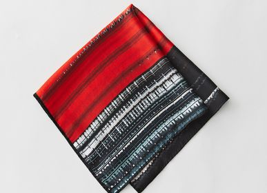 Scarves - Volcano and other silk satin squares - YEN TING CHO STUDIO