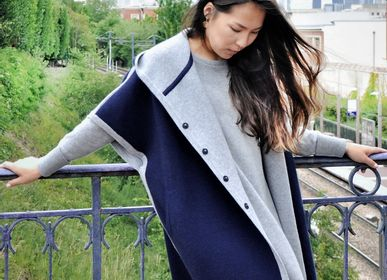 Apparel - Women's poncho with hoodie in cashmere, Mongolia  - AZZA DESIGN STUDIO ORGANIC CASHMERE MONGOLIE