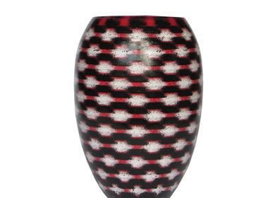 Bowls - White on Red Teleport Barrel Vase Medium - SYNCHROPAINT