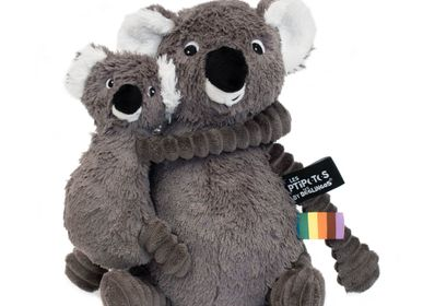 Soft toy - Trankilou the Koala Mom Baby Grey - LES DEGLINGOS