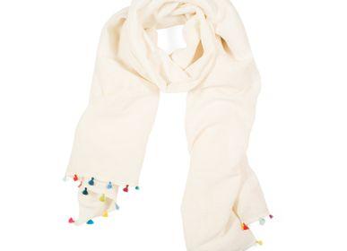 Scarves - Beige scarf with pompons - MIA ZIA
