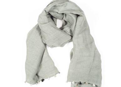 Scarves - Khaki scarf with pompons - MIA ZIA