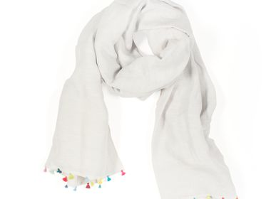 Scarves - Light grey scarf with pompons - MIA ZIA