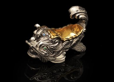 Platter, bowls - Goldfish Silver Caviar Server - ORMAS GROUP