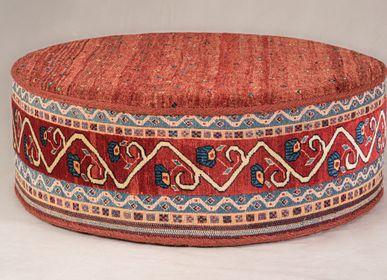 Design - Circular Afshar table,  soumak sides, Amaleh Gabbeh top - ZOLLANVARI INTERNATIONAL