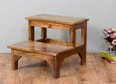 Stools - wooden double step stool - NATURAL FIBRES