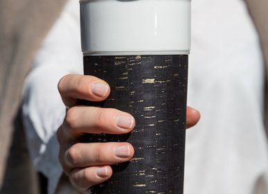 Mugs - Black & Gold - Cork leather 400ml/14oz - CUPALORS