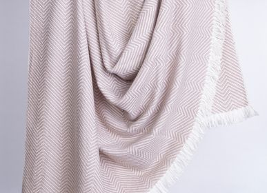 Throw blankets - Thick & Thin Chevron Weave Blanket - PASHMINA LOOMS - CASHMERE