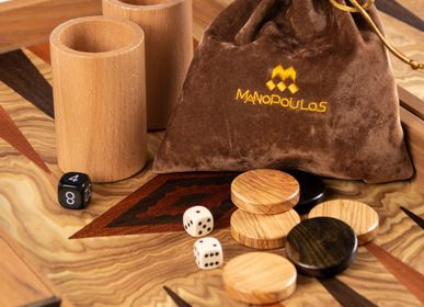 Objets design - BACKGAMMON D'OLIVE BURL avec damiers en bois - MANOPOULOS CHESS & BACKGAMMON