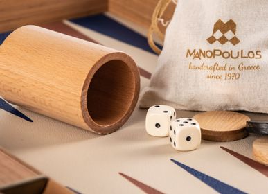 Gift - CHAMPAGNE BEIGE BACKGAMMON with Blue and Brown - MANOPOULOS CHESS & BACKGAMMON
