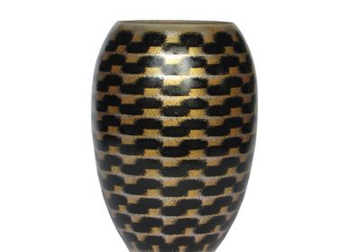 Bowls - Gold Shadow River Barrel Vase MED - SYNCHROPAINT