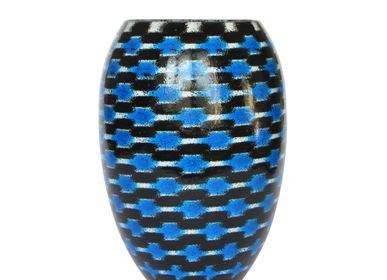 Bowls - Blue Teleport Barrel Vase Medium - SYNCHROPAINT