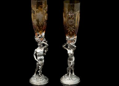 Sculpture - Adam and Eve Crystal Champagne and Wine Glasses - ORMAS GROUP