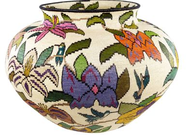 Decorative objects - Colorful Floral Wounaan Basket by Mutsuli - RAINFOREST BASKETS