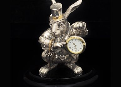 Clocks - The White Rabbit Silver Clock Alice in Wonderland - ORMAS GROUP