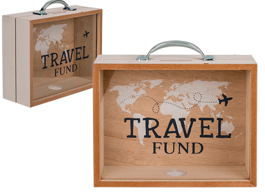 Decorative objects - Wooden savings box, Travel Fund - OUT OF THE BLUE
