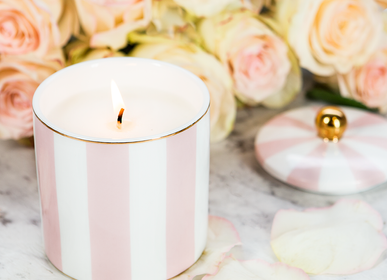 Candles - Blush & Ivory Stripe Candle (Strawberry Champagne)  - CRISTINA RE