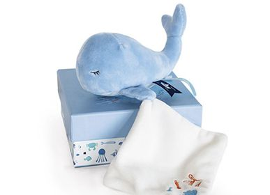 Soft toy - WHALE with doudou - blue - DOUDOU ET COMPAGNIE