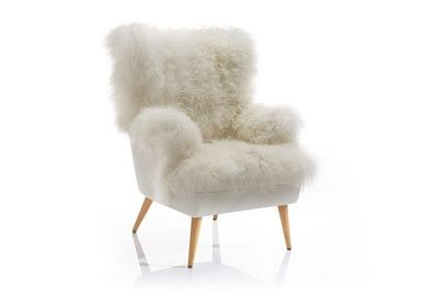 Chairs - chair; Tibett Lamb/cow leather; ecru; - KATRIN LEUZE -COLLECTION-