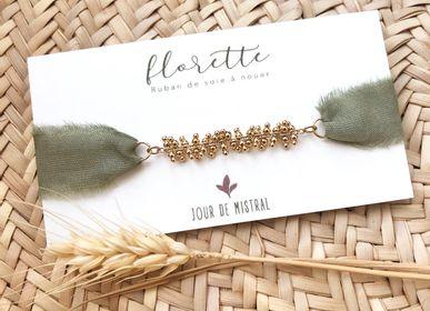 Jewelry - Bracelet Florette ribbon silk gold chain - JOUR DE MISTRAL